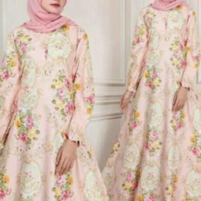 Gamis Muslim Pink Flower